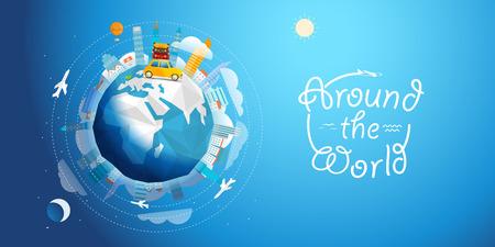 Across the world tour by car. Travel concept vector illustration Stok Fotoğraf - 57562564
