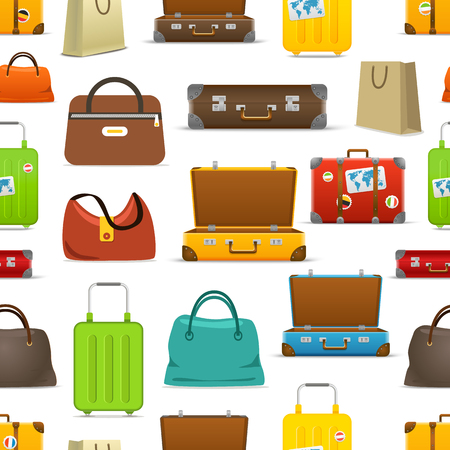 Different color travel bags vector collection. Seamless pattern