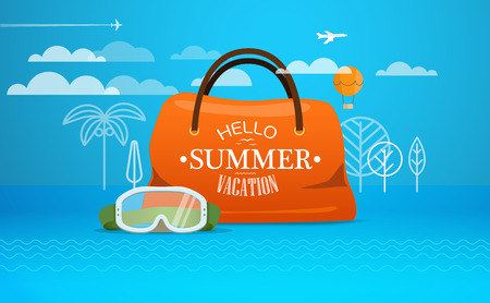 close: Travel bag vector illustration. Vacation concept with the bag