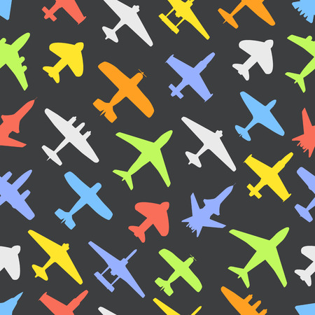 Transport and navy airplanes and jets color seamless background