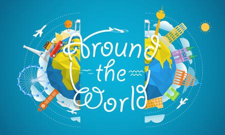 Travel vector illustration. Around the world concept. Travel guide template Ilustração Vetorial