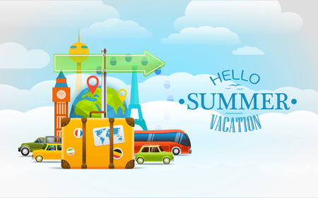 Vacation travelling concept. Vector travel illustration with the bag