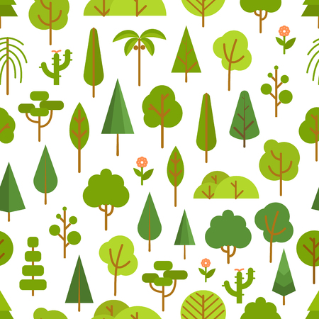 lineart: Different trees collection. Lineart design seamless pattern