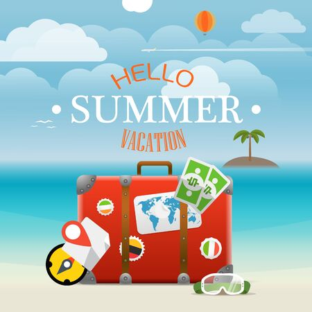 seaside: Summer seaside vacation illustration. Vector travel illustration Illustration