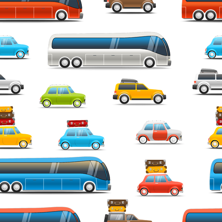 4x4: Different color cars and bus vector illustration. Seamless background