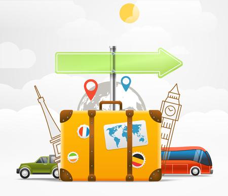 Vacaciones viajar concepto. Vector ilustración de viaje con la bolsa Ilustración de vector