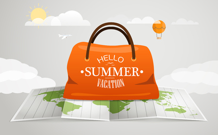 map case: Travel bag vector illustration. Vacation concept with the bag