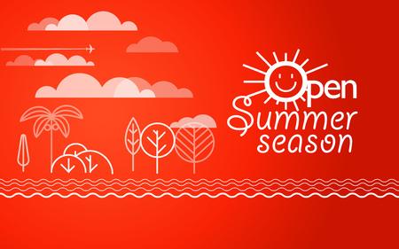 seacoast: Summer vacation illustration. Vacation design template. Open summer season concept