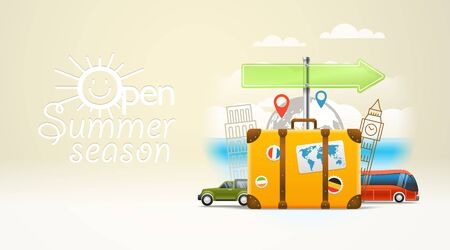 touristic: Vacation travelling composition with the open bag. Touristic sighns concept. Open  summer season