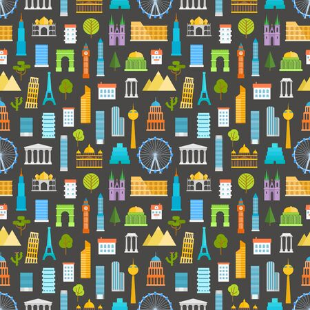 sights: Different world famouse sights and city buildings color silhouettes seamless pattern