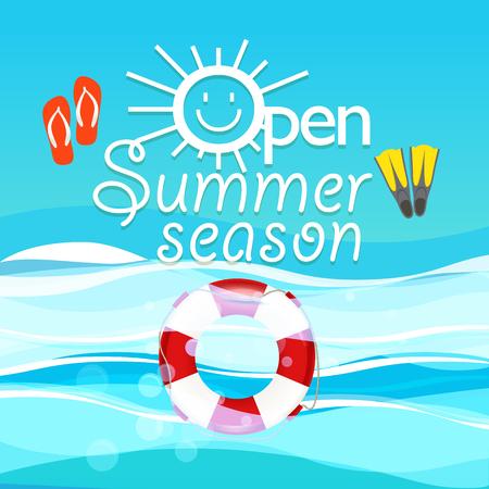 season: Summer season vacation illustration. Open summer season concept