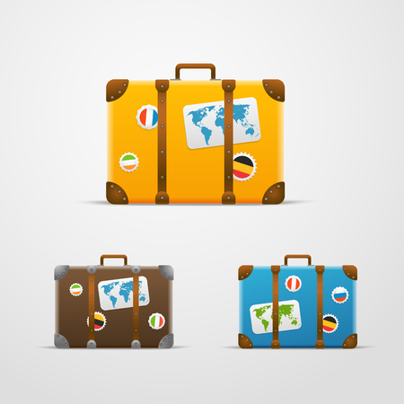 Different travel bags vector collection