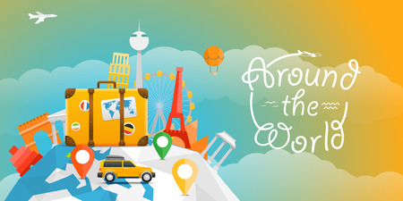 happy world: Vacation travelling concept. Vector travel illustration with the car. Around the world Illustration