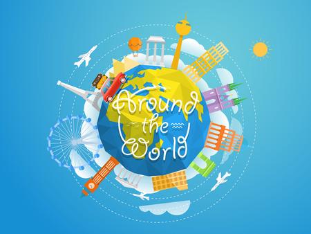 Collezione di sagome astratte di fama mondiale signts. Illustrazione di vettore di concetto di viaggio. Intorno al mondo