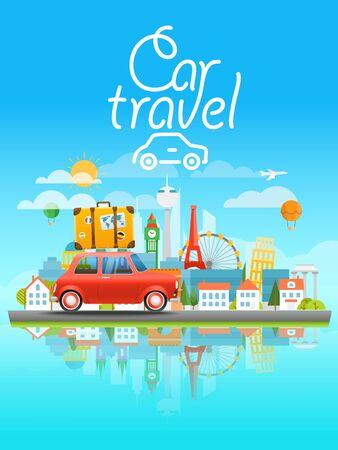 sights: Dirrefent world famous sights. Modern cityscape Vector travel illustration. Cat travel concept Illustration