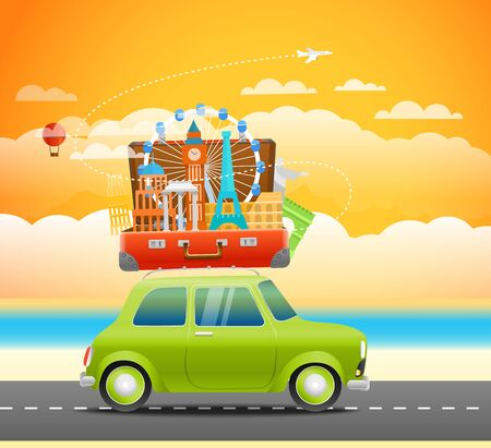 touristic: Vacation travelling composition with the open bag. Touristic sighns concept. Take vacation concept with a retro car
