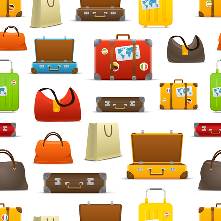 map case: Different color travel bags vector collection. Seamless pattern