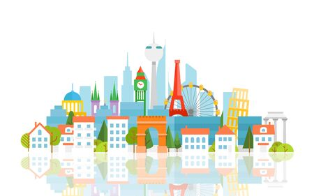 sights: Dirrefent world famous sights. Vacation travelling concept. Vector travel illustration