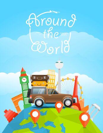 planeta tierra feliz: Vacaciones viajar concepto. Vector ilustración de viaje con el coche. Alrededor del mundo Vectores