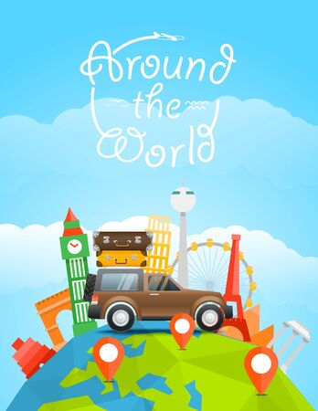cartoon earth: Vacation travelling concept. Vector travel illustration with the car. Around the world Illustration