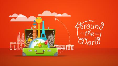 휴가 여행 컴포지션과 열린 가방입니다. 전 세계 개념
