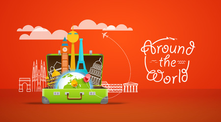 around the world: Vacation travelling composition with the open bag. Around the world concept