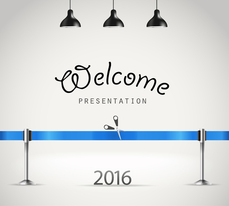 introducing: Photorealistic bright stage with lamps and ribbon. Presentation vector template Illustration