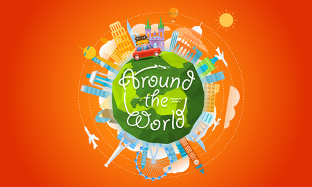Vacation travelling concept. Vector travel illustration with the car. Around the world 일러스트