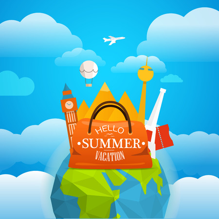 sights: Vacation travelling concept. Vector travel illustration with different famous sights. Take vacation concept with the Earth Illustration
