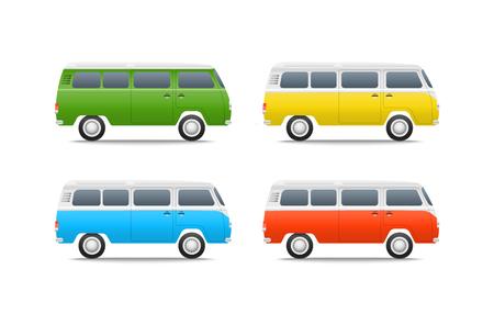 motor de carro: Ilustraci�n vectorial diferentes coches de color. conjunto bus retro