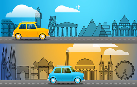 voyage: Take Vacation travelling concept. Flat design illustration. Retro car voyage