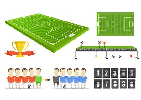 Partido de fútbol elementos infográficos clip-art