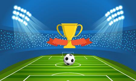 reflector: Light stadium mast vector illustration. Stadium with green football field Illustration