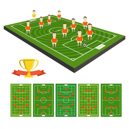 crossbars: Soccer team vector clip-art with different strategy schemes Illustration