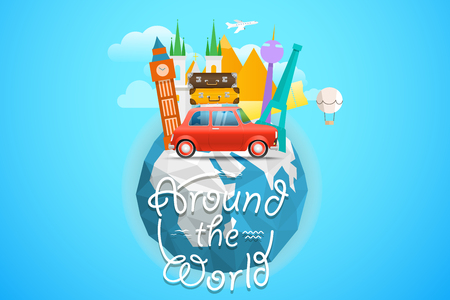 Vacation travelling concept. Vector travel illustration with different famous sights.  Around the world concept with the logo and the Earth