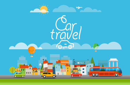 monuments: Vacation travelling concept. Vector travel illustration