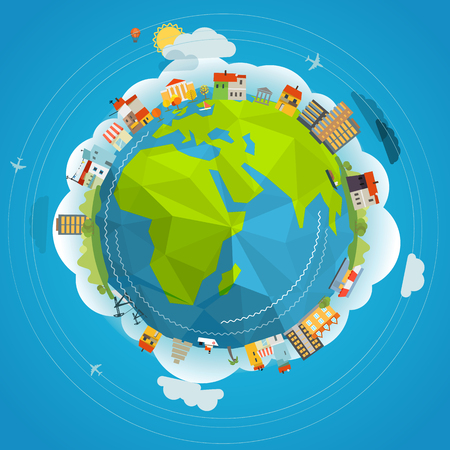 flat earth: Flat design illustration of the Earth