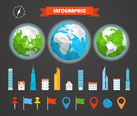 ratings: Infographic elements template. Statistic charts ratings vector clip-art. Buildings ans pins