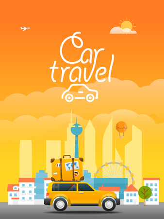 transport logo: Vacation travelling concept. Vector travel illustration with the car. Car travel  concept Illustration