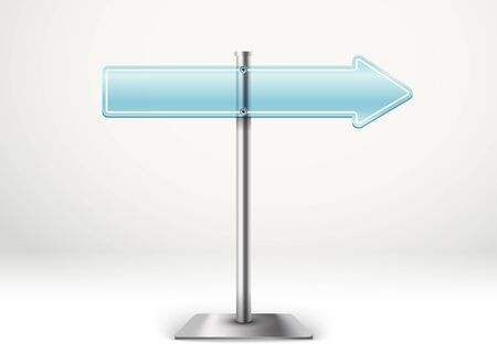 advertising column: Blank blue transparent arrow board. Template for a text. Direction to the right