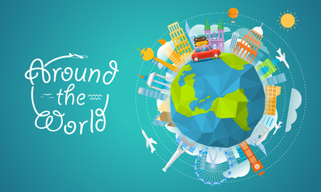 Vacation travelling concept. Vector travel illustration with the bag. Around the world Vector Illustration