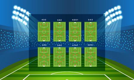 offense: Different soccer team arrangement. Football infographic template