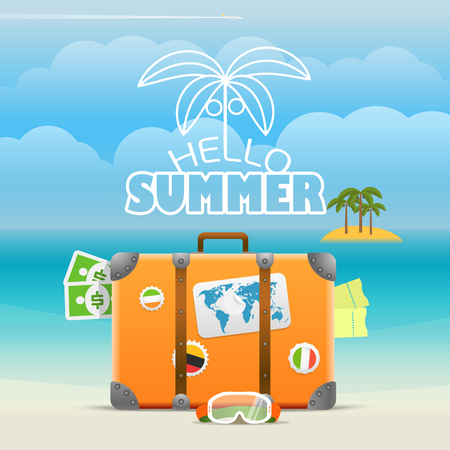 luggage travel: Summer seaside vacation illustration. Vector travel illustration Illustration