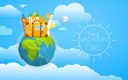 Urlaub Reisen Konzept. Vector Reise-Darstellung mit verschiedenen berühmten Sehenswürdigkeiten. Nehmen Sie Urlaub Konzept mit dem Logo und der Erde