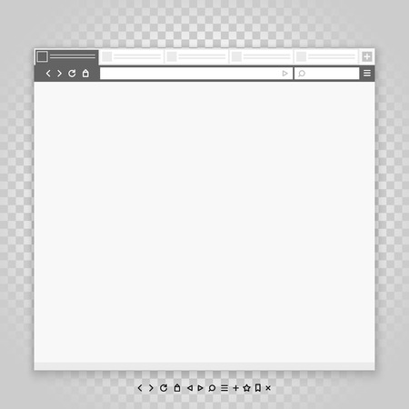 public folder: Opened browser window template and different pictograms set. Past your content into it. vector empty browser mockup Illustration