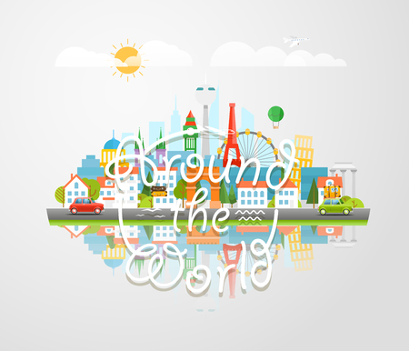 sights: Dirrefent world famous sights. Around the world concept. Modern cityscape Vector  travel illustration