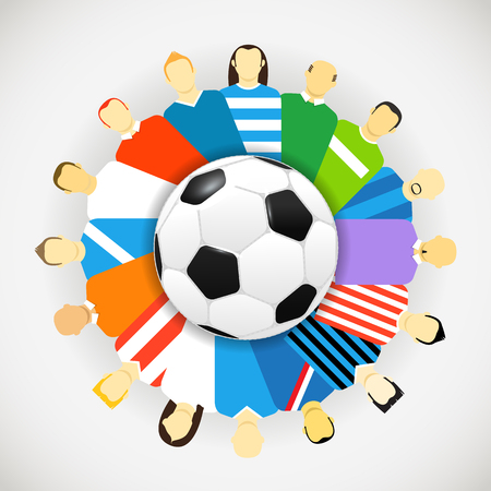 football teams: National teams football players around the soccer ball. Vector concept