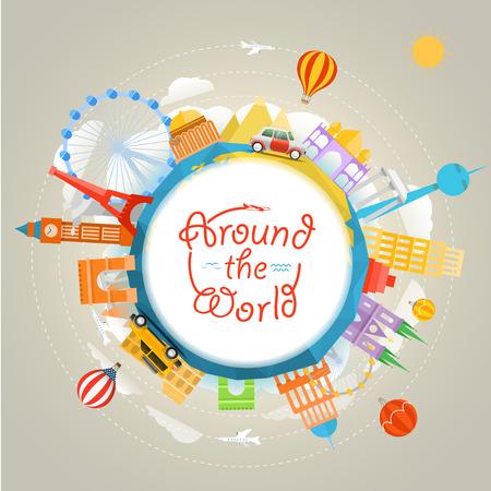 Travel around the world concept. Template for a text Vektoros illusztráció