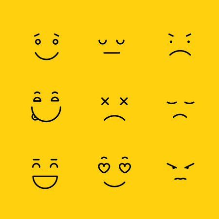 Different schematic face emotions. Lineart concept