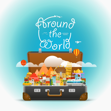 world travel: Dirrefent world famous sights. Vector travel illustration. Around the world concept Illustration